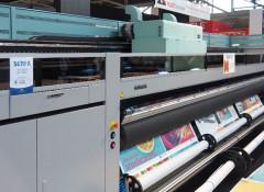 Пятиметровый УФ-принтер Acuity Ultra на стенде Fujifilm на выставке Fespa Global Print Expo 2019
