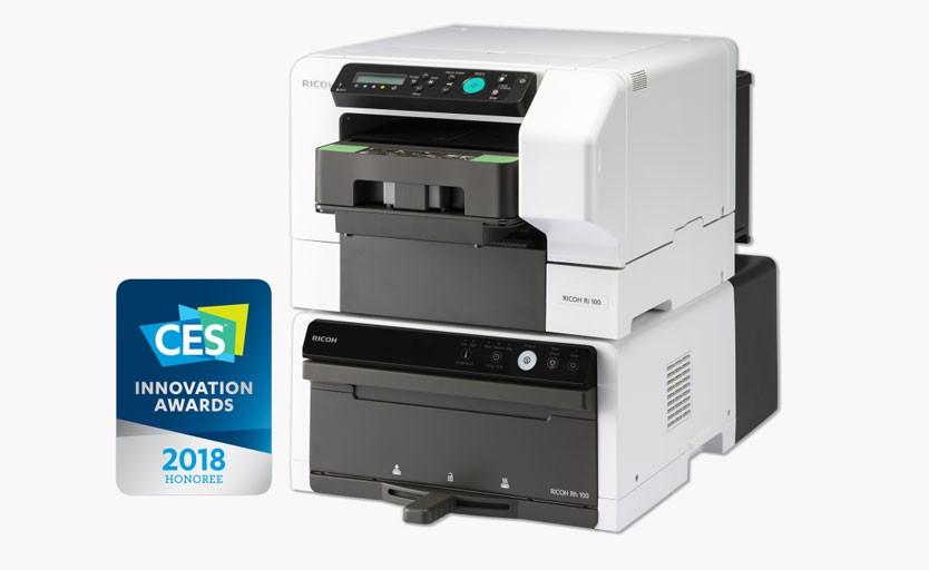 Текстильный принтер Ricoh Ri 100. Сверху – собственно принтер, снизу – сушильное устройство