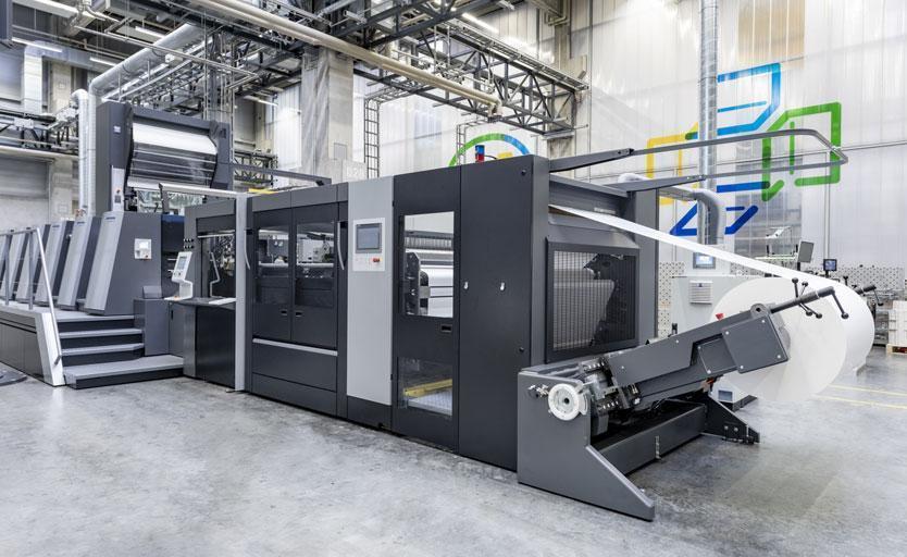 Листовая офсетная печатная машина Heidelberg Speedmaster XL106 с рулонной зарядкой CutStar и модулем холодного тиснения фольгой FoilStar